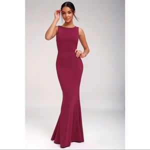 LULUS MINE MAGENTA BACKLESS MAXI DRESS